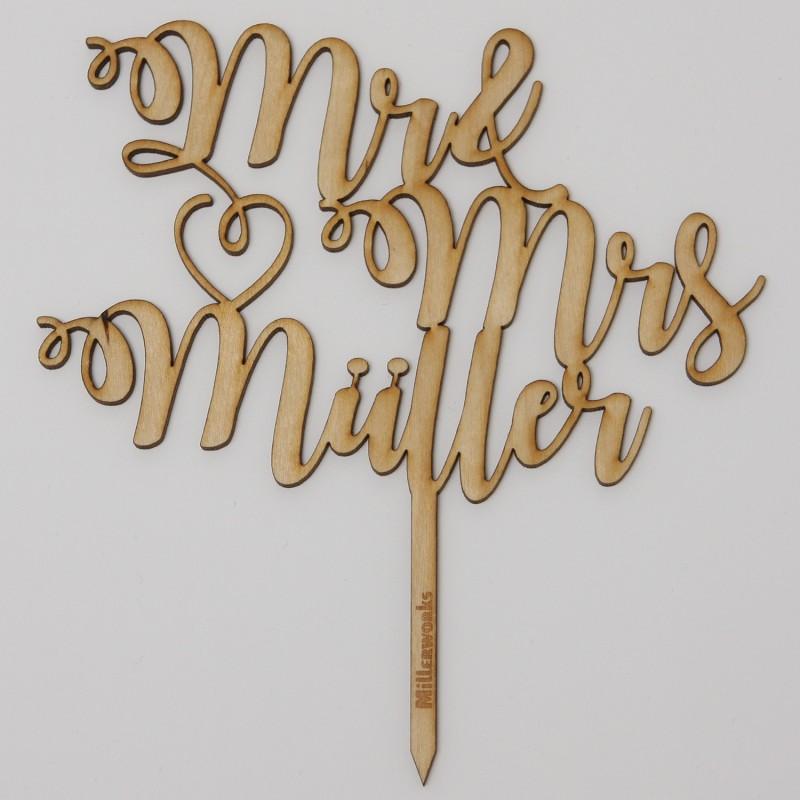 Mr und Mrs mit Namen aus Holz