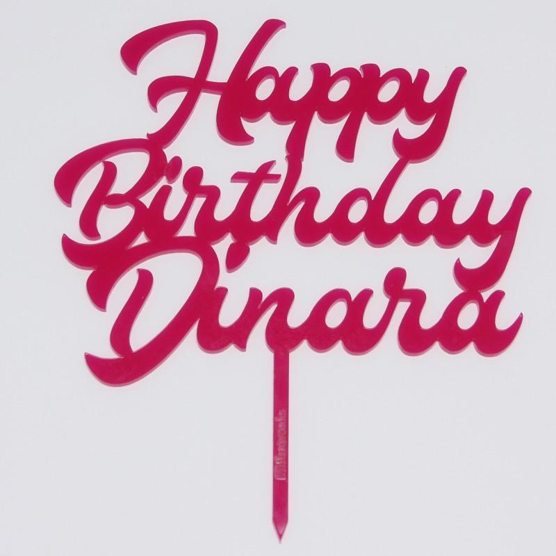 Happy Birthday mit Namen in Acryl pink